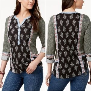 Style & Co Mixed Floral Printed Half Button Up Top